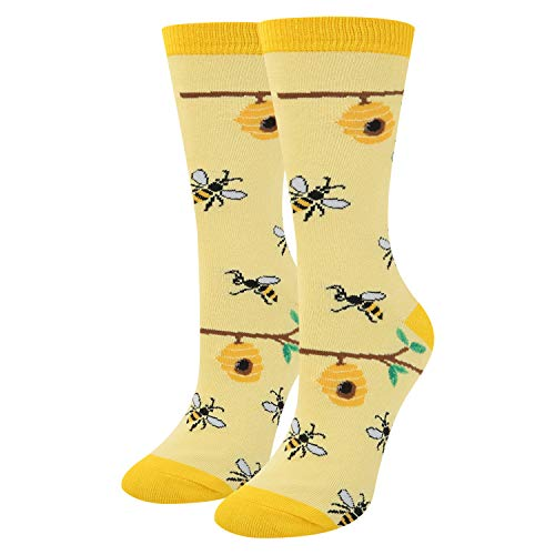 Women Girls Funny Novelty Busy Bees Honeycomb Crew Socks Colorful Cute Crazy Bugs Cotton Socks in Yellow ()