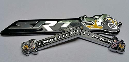 Coolandi D-SRTBEE+2xD-SCTBEE Set 3 Metal Caliber Magnum Charger Challenger SCAT PACK Super Bee Emblem Badge Sticker Decal -