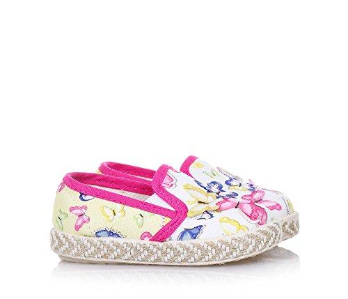 MONNALISA - Slip on multicolore en tissu, made in Italy, romantique et amusante, avec des applications, Fille, Filles