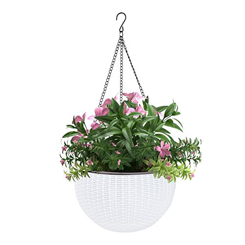 Vencer 11 Inch Round Resin Self Watering Hanging Basket,Water Indicator,Ceramsite,Modern Decorative Planter Pot for All House Plants,White,VF-050