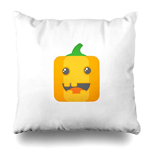 Kutita Decorative Pillow Covers 20 x 20 inch Throw Pillow Covers, Colorful Simple Square Flat Art Cartoon Pumpkin Head Icon Pattern Double-Sided Decorative Home Decor Pillowcase]()