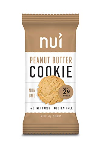 Keto Cookies, Low Carb Snacks: Peanut Butter Cookies by Nui - Keto Snacks, Low Carb, Low Sugar, 4g Net Carbs, Gluten Free - 8 Pack (16 cookies)