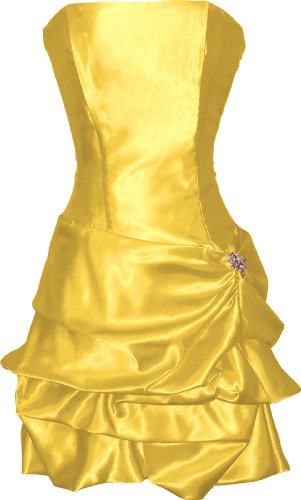 Strapless Satin Bubble Dress Prom Formal Holiday Party Cocktail Gown Bridesmaid, 2X, yellow