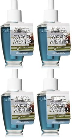 Bath and Body Works 4 Pack Sweater Weather Wallflowers Fragrance Refill. 0.8 Oz.