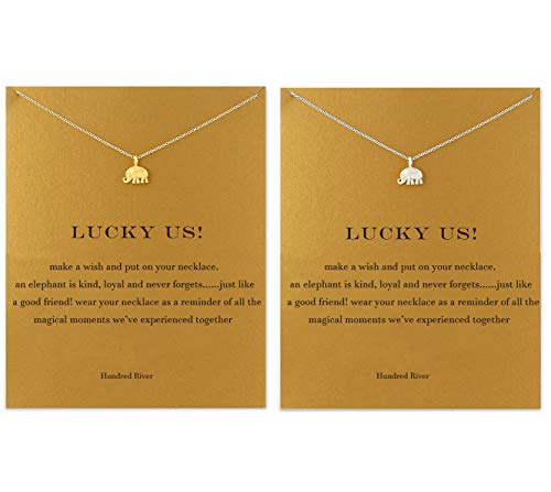 Friend Jewelry Best - Hundred River Elephant Necklace with Message Card Gift Card Graduation Gift (2 Elephant)