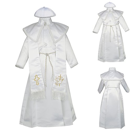 Unotux Baby Boy Christening Baptism Gown Gold Outfit Dove Cross Church Hat 0-30M (1:(6-12 months))