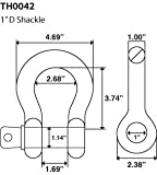 """Temco 1"""" x 8.5 Ton D Ring Bow Shackle with Screw"""