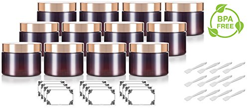 Label Oz 12 Bottle (Amber PET Plastic (BPA Free) Refillable Low Profile Jar with Gold Metal Overshell Lid - 12 oz (12 Pack) + Spatulas and Labels)