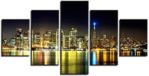 キャンバス壁アートプリント絵画5ピース都市ビルタワー夜景ポスターリビングルームの装飾写真40X60Cmx2 40X80Cmx2 40X100Cmx1なしフレーム