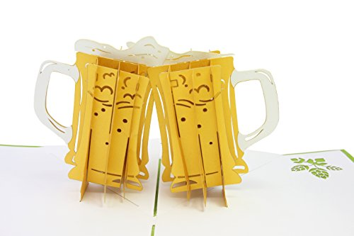 (PopLife Craft Beer Cheers 3D Pop Up Father's Day Card - Happy Anniversary Beer Card, Birthday Popup, Retirement Card - Greeting Card for Beer Lovers - for Boyfriend, for Father, for Son, for Dad)