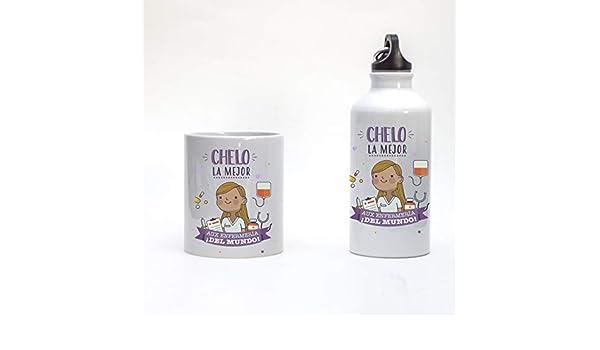 Pack Taza y Botella Infantil para PERSONALIZAR con NOMBRE Auxiliar de Enfermeria: Amazon.es: Handmade
