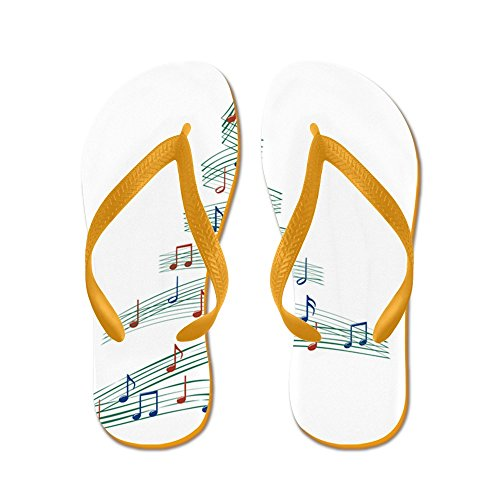 Cafepress Christmascarolmusictree - Flip Flops, Grappige String Sandalen, Strand Sandalen Oranje