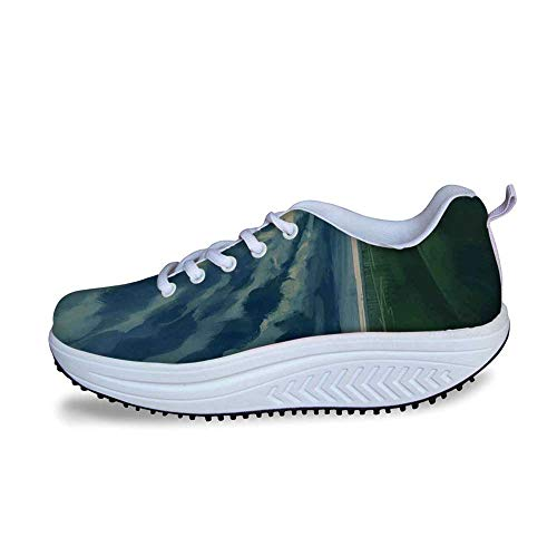 - YOLIYANA Abstract Home Decor Cool Shake Shoes,Man Holding an Umbrella Standing Alone in Meadow Cloudy Horizon Decorative for Women,US Size10