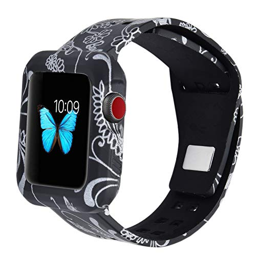 MLQSS Soft Silicone Shockproof Rugged Watch Band with Protective Case Compatible with Apple Watch 38mm 42mm,Sport Style Strap Bands Wristband Compatible with Apple Watch Series 3/2/1 Sport Edition
