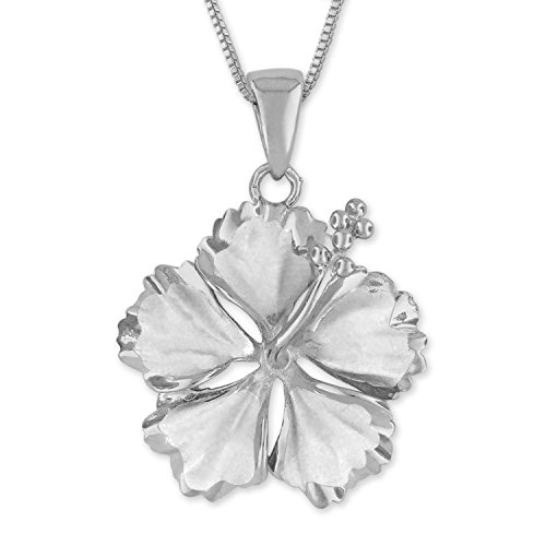 (Sterling Silver 23mm Hibiscus Pendant Necklace, 16+2