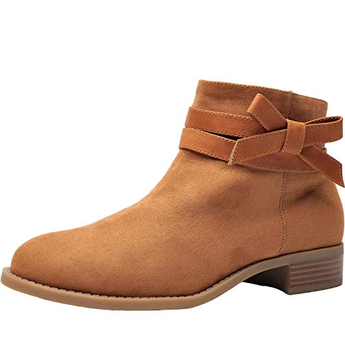 Luoika Women's Wide Width Ankle Boots - Low Stack Heel Zip up Bow Buckle Strap Casual Ankle Booties.(180609,Brown,9WW) ()