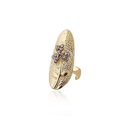 Winter's Secret Gold Color Trifolium Cloverleaf Pattern Diamond Accented Fingernail Ring