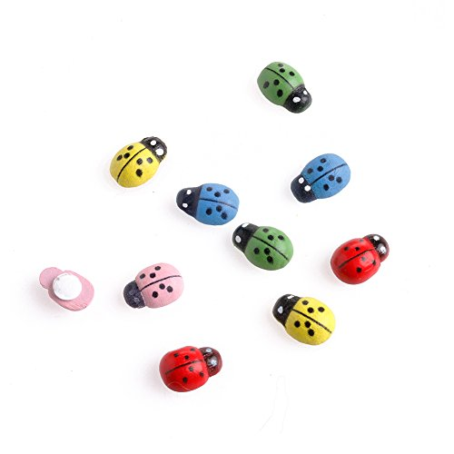 - Techinal 10pcs Colorful Mini Sized Ladybugs Shaped Stickers Miniature Ornament DIY Kit for Fairy Garden Dollhouse Plant Decor-Create Your Own Living