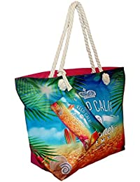 Tropical Print Beach Bag Tote with Pouch