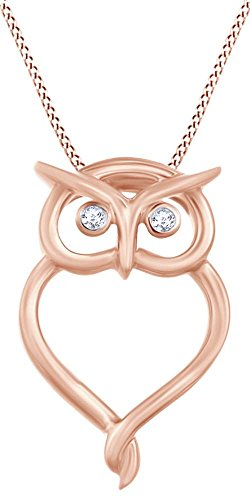 (Round Shape White Natural Diamond Accent Owl Pendant Necklace in 10K Rose Gold (0.02 Cttw) )