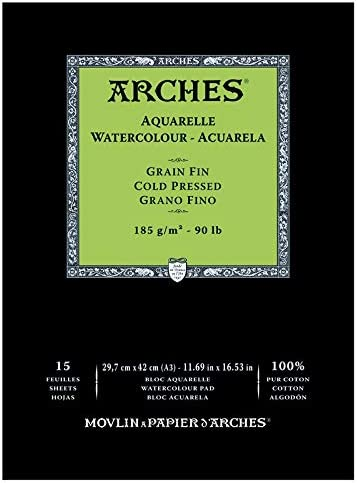 Arches - Bloc De Papel De Acuarela Con 15 Hojas, Grano Fino, A3 ...