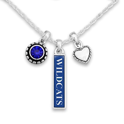 FTH Kentucky Wildcats Triple Charm Necklace with Heart and Team Color Nameplate Charms