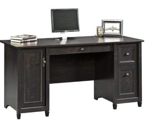 "Sauder 408558 Edge Water Computer Desk, L: 59.06"" x W: 23.23"" x H: 29.02"", Estate Black finish"