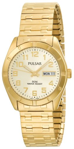 Pulsar Men's PXN150 Expansion-Band Black Dial Gold-Tone Watch ()