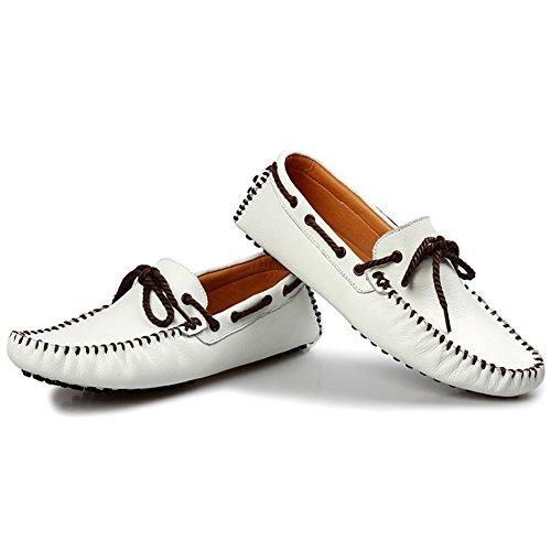 Gå Tur Mens Äkta Läder Klassiska Mockasin White-b