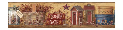 Outhouse Wallpaper Borders - York Wallcoverings Best of Country HK4650BD Country Bath Border, Mustard