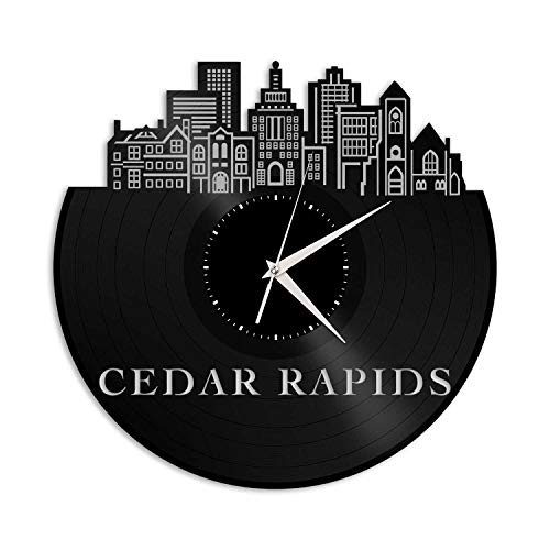 VinylShopUS - Cedar Rapids IA Vinyl Wall Clock City Skyline Souvenir Unique Gift Ideas for Friends Office and Bedroom | Home Anniversary Decoration ()