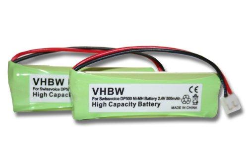 vhbw 2x Ni-MH Akku 500mAh (2.4V) für Festnetz Telefon Medion MD82973, MD83024, MD83173, Life S63062, S63065, S63072 wie VT50AAAALH2BMJZ, GPHC05RN01.