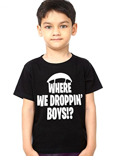Boys Youth T-shirt - fresh tees Where We Droppin' Boys Youth Fortnite T-Shirt (Medium 6/8 yrs, Black)