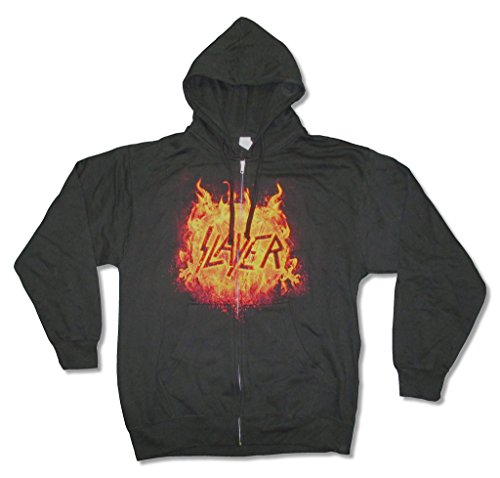 (Slayer Flaming Eagle Logo Mens Zip Up Black Sweatshirt Hoodie (L))