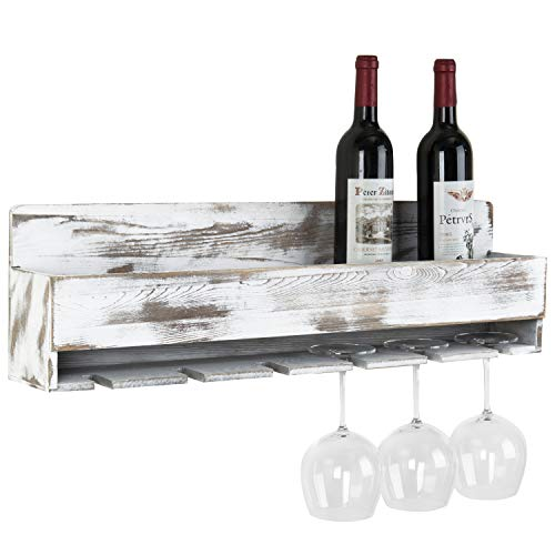 MyGift Rustic Whitewashed Wood Wall-Mounted Wine Rack with Bottle Glass Holder