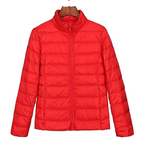security Womens Lightweight Solid Stand Collar Long Sleeve Down Jacket Red