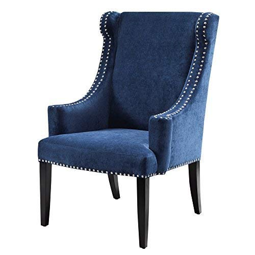 Madison Park Marcel Accent Chairs - Hardwood, Faux Velvet Living Room Chairs - Blue Navy, Classic Elegant Style Living Room Sofa Furniture - 1 Piece Swoop Wing Arm Bedroom Chairs Seats