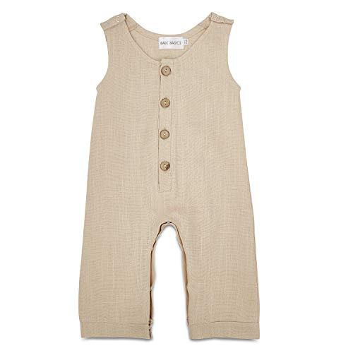 Babe Basics Linen Baby Romper   Baby Boy Fall Romper   Fall Photoshoot Outfit (18-24 Months, Cream)
