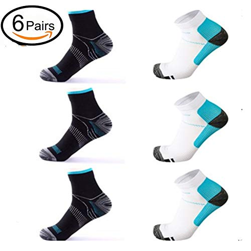 6 Pairs Medical&Althetic Compression Socks for Men Women, 15-20 mmHg Nursing Plantar Fasciitis Arch Support,Compression Ankle Socks for Running Marathon Travel Flight (Black Blue+White Blue)  Price: $12.99