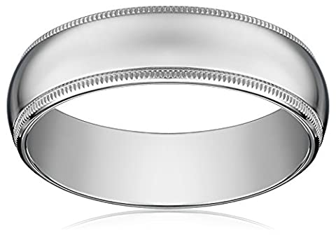Standard Comfort-Fit 14K White Gold Milgrain Band, 6mm, Size 11 (6 Mm White Gold Band)