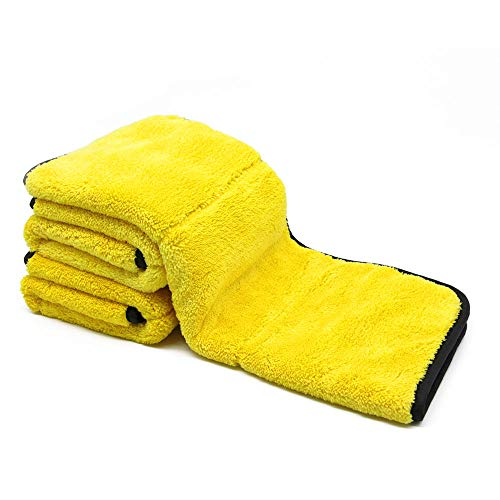 "Auto Care 920GSM Super Thick Microfiber Car Cleaning Cloth Detailing Towel 15"" x 17.7"" (Yellow/Gray-3PCS)"