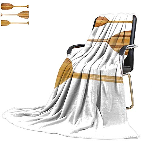 """YOYI-home Super Soft Lightweight Blanket Three Traditional Wooden Canoe Paddles with Different Shape of Blades Isolated on White Custom Design Cozy Flannel Blanket 90""""x70"""""""