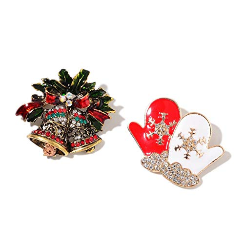 (Christmas Multi Glass, Aust. Crystal Enameled Goldtone Bells & Mitt Set KS-383)