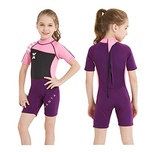 Pink Shorty Wetsuit - DIVE & SAIL Kids Wetsuit Shorty, 2.5mm Neoprene Thermal Swimsuit, Youth Boys and Girls Wet Suits for Snorkel Diving, Full Suit and Shorty Swimsuit (Girl's Shorty-Pink, Kids XL Size)