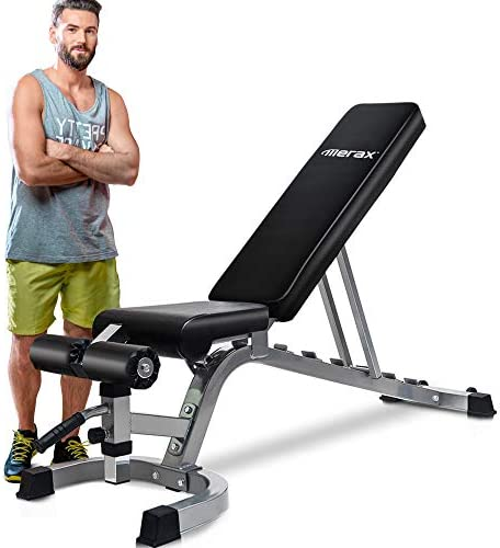 Merax Deluxe Foldable Utility Weight Bench Adjustable Sit Up AB Incline Bench Gym Equipment