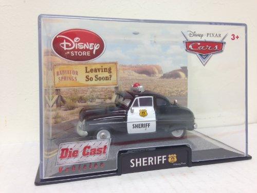 Authentic Disney Store Movie Exclusive Pixar Cars 148 Die Cast Car Vehicle in Plastic Display Case - Sheriff Disney Cars Display Case