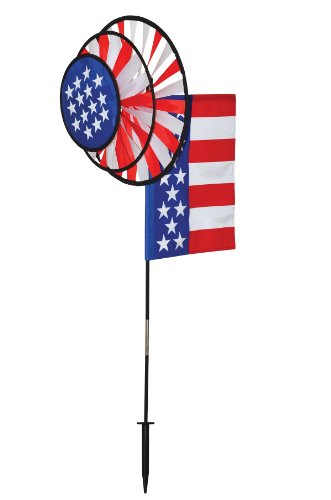 In the Breeze 2884 USA Dual Wheel Wind Spinner with Garden Flag
