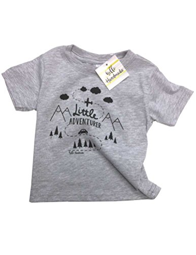 Hello Handmade Little Adventurer Fun camping adventure Soft Infant Toddler Tee Shirt (12 Months, Heather Grey)