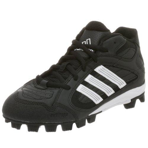 adidas Kid's Triple Star 5 Mid J Baseball Cleat,Black/White,3 M