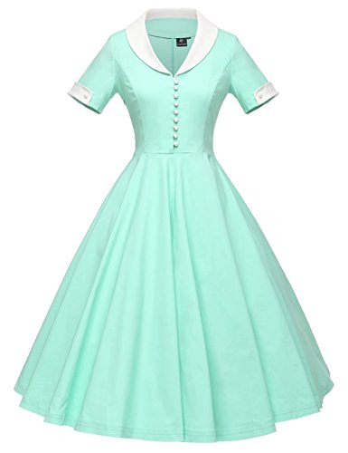 GownTown Womens 1950s Cape Collar Vintage Swing Stretchy Dresses, Mintgreen, Small